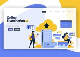 landing page vector flat design illustration of online exams with a question choice of survey, quizzes, questionnaires. cloud security survey. for websites, mobile apps, banner, flyer, brochure, ads