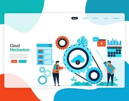 homepage landing page vector flat illustration of cloud mechanism. repair and maintenance of cloud storage technology. security system in digital backup database. web, flyer, website, mobile apps