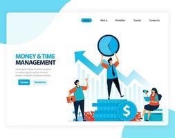 ilustración vectorial de gestión de tiempo y dinero. organizar y planificar fondos financieros para el futuro. caricatura plana para página de destino, plantilla, ui ux, web, sitio web, aplicación móvil, banner, flyer, folleto vector