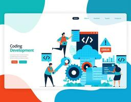 homepage landing page vector flat illustration of coding development. repair and maintenance of cloud storage technology. security system in digital backup database. web, flyer, website, mobile apps