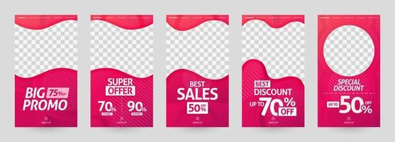 abstract illustrations of social media story template. post discount and sale for fashion and modern retail. advertising, marketing, promotion for online. digital print brochure, flyer, banner, card