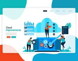 homepage landing page vector flat illustration of improvements cloud . repair and maintenance of cloud storage technology. security system in digital backup database. web, flyer, website, mobile apps