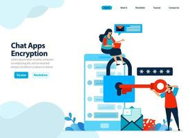 website design of chat apps encryption and mobile security. secure personal data by protecting smartphone. Flat illustration for landing page template, ui ux, website, mobile app, flyer, brochure, ads vector