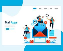 vector landing page of sending, receiving, managing e-mail. work scheduling with digital business e-mail services. illustration for landing page, template, ui ux, web, mobile apps, poster, flyer, ads