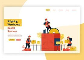 welcome page website for warehousing rental service companies, delivery transit, ports, aircraft cargo and public transportation. warehouse with box packing machines. landing page, banner, mobile apps vector