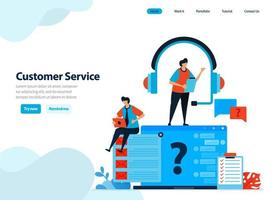 website design of customer service and help center. handle and answer customer questions and complaints. Flat illustration for landing page template, ui ux, website, mobile app, flyer, brochure, ads vector