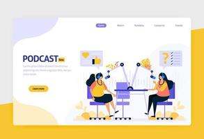 landing page vector flat design illustration of podcast broadcasting. internet technology, modern public interview and online reporting with audio. for websites, mobile apps, banner, flyer, brochure