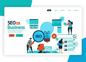 vector illustration website for marketing optimization with SEO. online advertising with keywords in search engines for target market, ads services, social media. landing page, banner, mobile apps