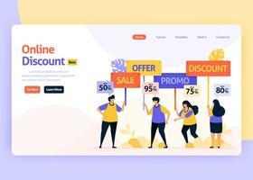 Vector illustration landing page for online discounts, promotions, social media ads, retail marketing. Special offers on digital e-commerce. For web, website, landing page, mobile app, flyer, brochure