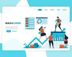vector landing page of building a career and leadership. chart in achieving business goals. develop mental in work. illustration for web, homepage, web page, web theme, template, flyer, mobile, cards