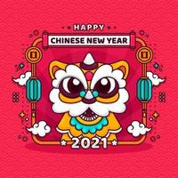 Chinese New Year Greeting with Cute Dancing Lion vector