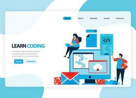 Vector homepage for learning programming and coding. Application development with a simple programming language. Flat illustration for landing page, template, ui ux, web, mobile app, banner, flyer