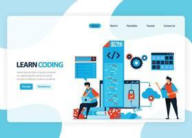 página de inicio de vectores para aprender a programar y codificar. desarrollo de aplicaciones con un lenguaje de programación simple. ilustración plana para página de destino, plantilla, ui ux, web, aplicación móvil, banner, flyer