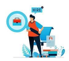 ilustración vectorial de buscar trabajadores. estamos contratando cartel para solicitantes de empleo, vacantes abiertas para puestos de trabajo, oportunidad de encontrar trabajo, feria de trabajo. se puede utilizar para la página de destino, plantilla, interfaz de usuario, web vector