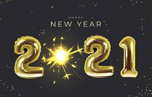 New year Background with 2021 Balloons vector