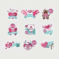 Set of valentine Sale Labels vector