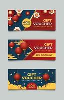 Set of Chinese New Year Paper Cut Voucher Discount vector