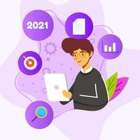 plan de resolución de año nuevo para estudiantes recién graduados vector