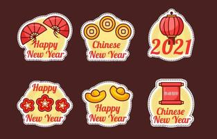 Cute Chinese New Year Festivity Sticker Collection vector