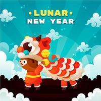 Cute Ox Celebrating Lunar New Year