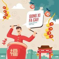 Man Plays Tanggu Drum Gong Xi Fa Cai Celebration vector