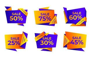Sale label collection with vibrance colours vector