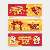 Gift Voucher Chinese New Year vector