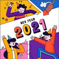 Happy People Celebrate 2021 New Year vector