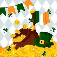 Clover Fall On Money Pot vector