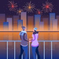 pareja romántica viendo fuegos artificiales junto al río vector