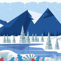 Floral Winter Plants With Mountain Background vector