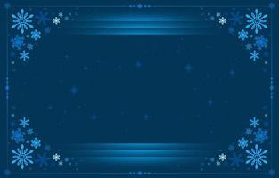 Elegant Line Blue Snowflakes Frame Background vector