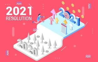 Isometric Illustration of New Year Resolution vector