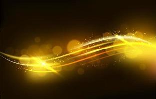 Ola de oro brillante sobre fondo marrón oscuro vector