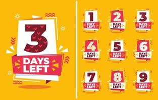 Flat Simple Geometric Countdown Collection vector