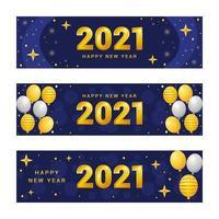 banner de año nuevo azul brillante y dorado 2021 vector