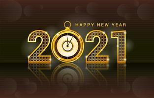 reloj de oro brillante 2021 año nuevo vector