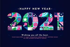 2021 New Year Greeting with Decorative Elements vector