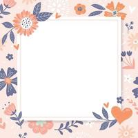 Cute Hand Drawn Floral Background with Frame vector