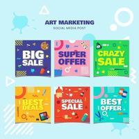 Set of Art Shop Sale Social Media Post vector