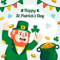St. patrick's day with leprechaun cartoon vector
