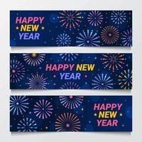 New Year Fireworks Banner Design vector