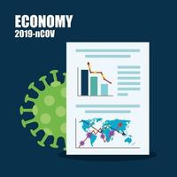 economy impact by 2019 ncov infographic in document vector