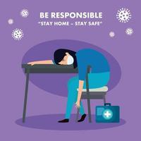campaña de ser responsable quedarse en casa con paramédico mujer preocupada vector