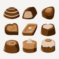 chocolate plano pegatinas vector