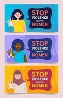 Banners de detener la violencia contra las mujeres.