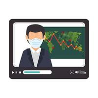 stock market variation by covid 19 businessman in tablet vector