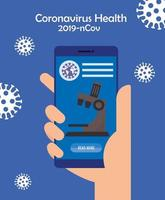 medicine online technology with smartphone and microscope vector