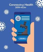 Medicina tecnología en línea con teléfono inteligente y microscopio.