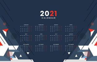 Abstract Techno Geometric 2021 Calendar Concept vector